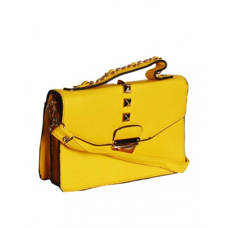 Made In The USA Cross body Leather Mini-Bag For Ladies - Yellow