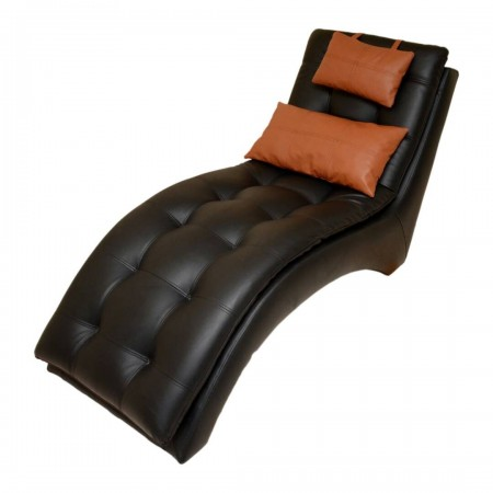 Kariba Black Leather Divan - Chair - Chaise Lounge