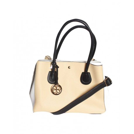 Made In The Usa Handbag With Unique Colour Combo Light Brown White
