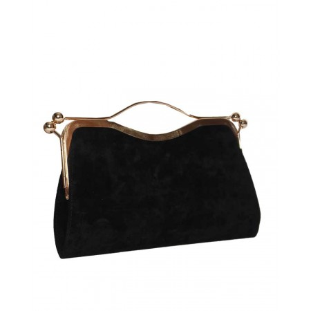MADE IN TURKEY UNIQUE CLUTCH PURSE - SUEDE BLACK