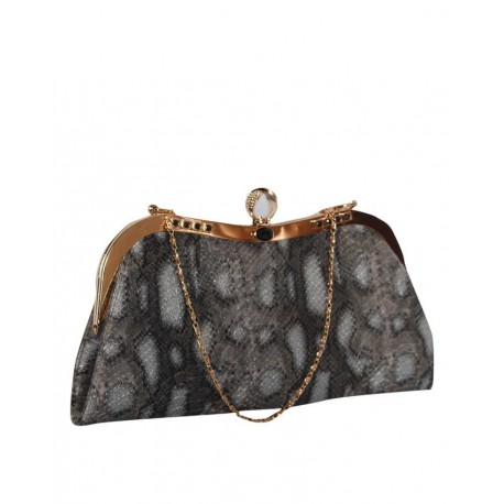 MADE IN TURKEY ADORABLE CLUTCH PURSE - PATTERNED GREY