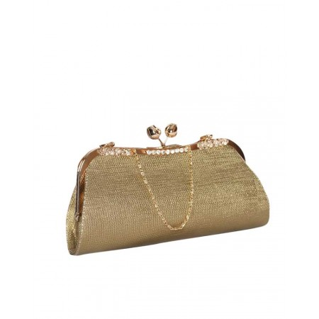 MADE IN TURKEY CLUTCH PURSE WITH UNIQUE LOCK - GOLD