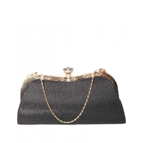 MADE IN TURKEY CLUTCH PURSE WITH KNOB CLOSURE - SHIMMERY BLACK