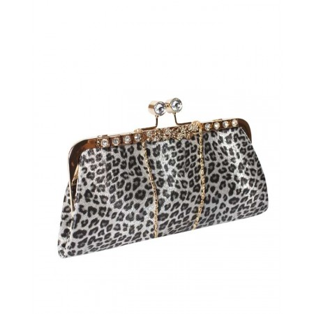 MADE IN TURKEY SHIMMERY PATTERNED CLUTCH PURSE - SILVER & BLACK
