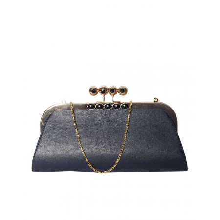 MADE IN TURKEY CLUTCH PURSE WITH STONES - DARK BLUE
