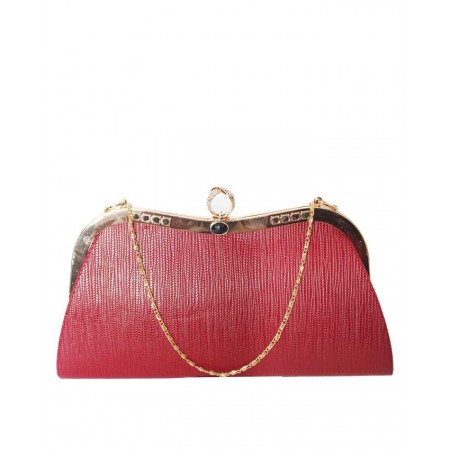 MADE IN TURKEY CLUTCH PURSE WITH RING CLOSURE - WINE