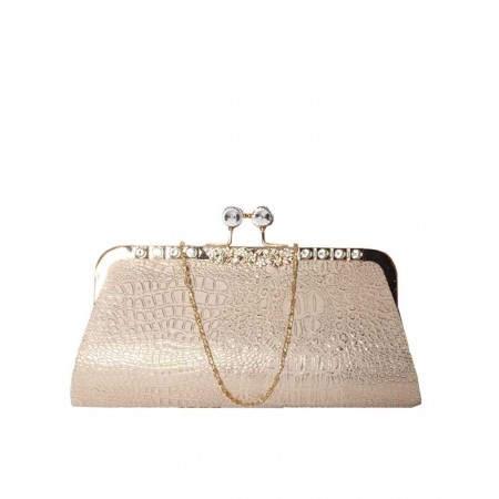 MADE IN TURKEY DOUBLE PATTERNED GLITTER CLUTCH PURSE - BEIGE & GOLD
