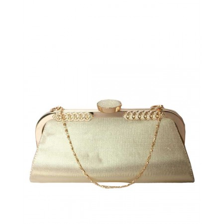 MADE IN TURKEY CLUTCH PURSE WITH LARGE KNOB - GOLD