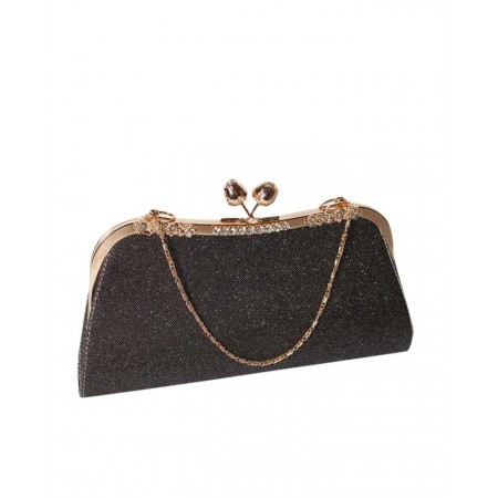 MADE IN TURKEY CLUTCH PURSE WITH SHINING EFFECT - BLACK