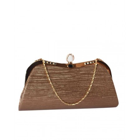 MADE IN TURKEY PATTERNED CLUTCH PURSE - BRONZE
