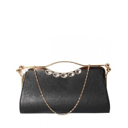 MADE IN TURKEY CLUTCH PURSE WITH BOTH SIDES CLOSURE - BLACK