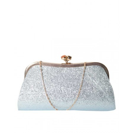 MADE IN TURKEY CLUTCH PURSE WITH SHIMMERY BODY - CYAN
