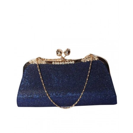 MADE IN TURKEY SHIMMERY BODIED CLUTCH PURSE - ROYAL BLUE