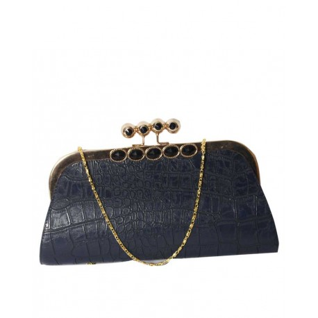 MADE IN TURKEY CLUTCH PURSE WITH PATTERNED BODY - NAVY BLUE