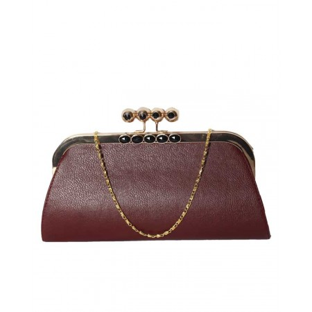MADE IN TURKEY UNIQUE LEATHER CLUTCH PURSE - BURGUNDY