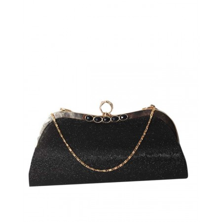 MADE IN TURKEY CLUTCH PURSE WITH RING KNOB CLOSURE - SHIMMERY BLACK