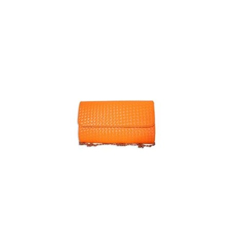 MADE IN THE UK FAUX LEATHER WOVEN CLUTCH - ORANGE
