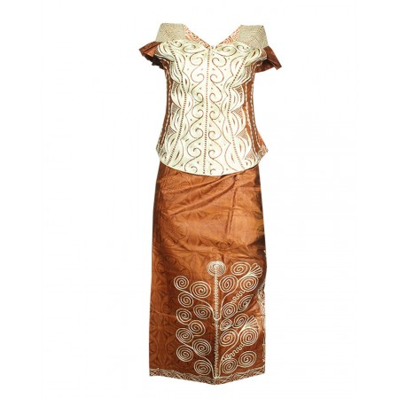 Made in Senegal Embroidered Guinea Blouse With Wrapper