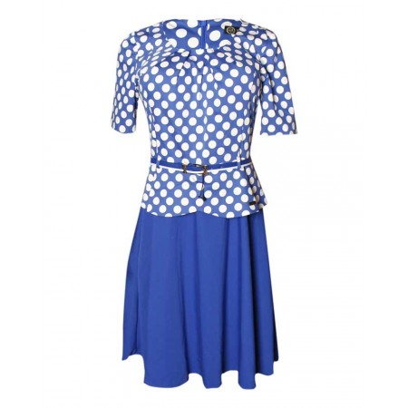 MADE IN TURKEY POLKA DOT MIDI FALSE 2-PIECE DRESS WITH BELT - BLUE & WHITE