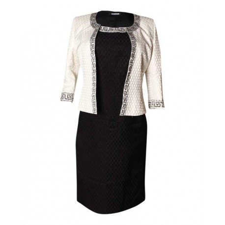 MADE IN TURKEY 2-PIECE DRESS AND JACKET SET - BLACK & CREAM