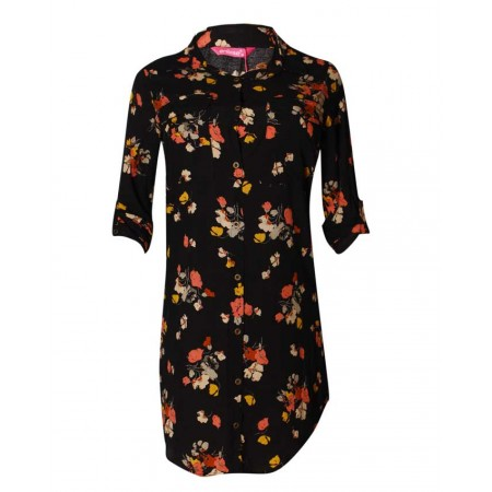 MADE IN TURKEY HI-LO FLORAL PATTERNED DRESS SHIRT MIDI DRESS - BLACK & MULTI