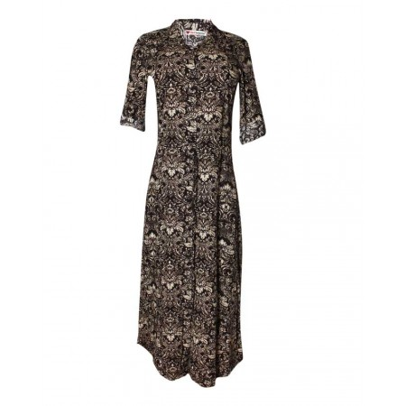 MADE IN TURKEY PATTERNED MAXI DRESS - BLACK & CREAM
