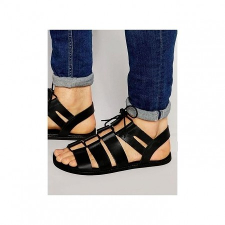 Laced Gladiator Sandals - Black