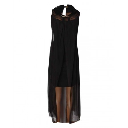 MADE IN TURKEY 2-PIECE MIDI DRESS WITH LONG OUTER JACKET - BLACK