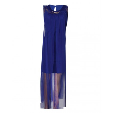 MADE IN TURKEY 2-PIECE MIDI DRESS WITH LONG OUTER JACKET -  BLUE
