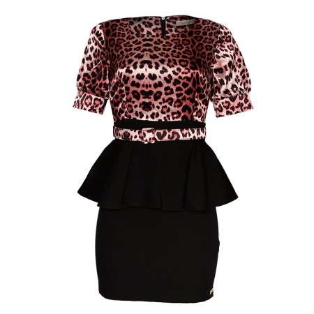MADE IN TURKEY FALSE 2-PIECE DRESS WITH BELT - MULTICOLOUR & BLACK