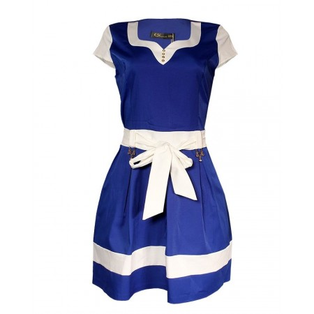 MADE IN TURKEY STYLISH MIDI DRESS WITH BELT - ROYAL BLUE & WHITE