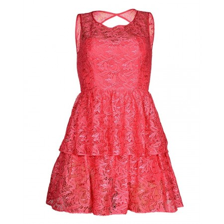 LAYERED LACY MINI DRESS FOR YOUNG GIRLS - FUSCHIA