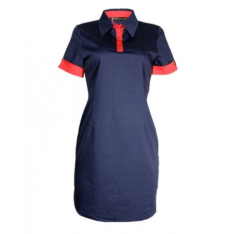 MADE IN TURKEY MINI DRESS WITH COLOR COMBINATION - NAVY BLUE & RED