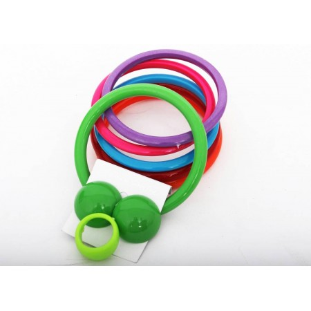 3-in-1 Bangles, Ring and Earring - Multicolor
