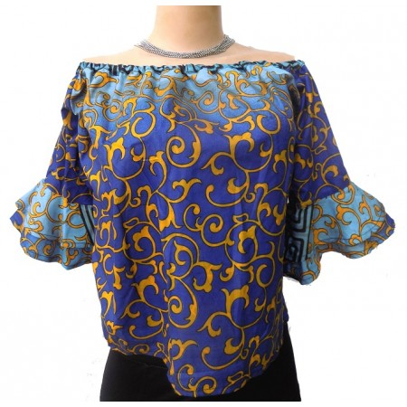 Ankara Off-Shoulder Short Sleeve Blouse