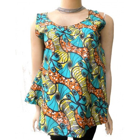 Sleeveless Ankara Flared Blouse - Multicolor
