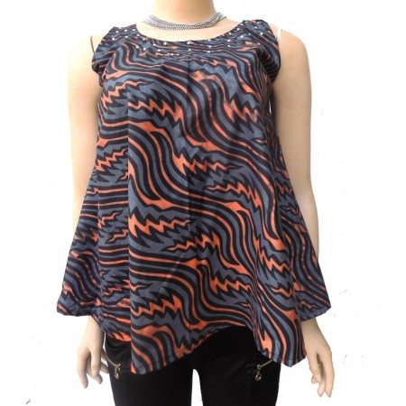 Sleeveless Ankara Flared Blouse
