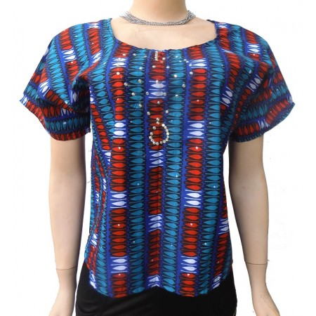 Short Sleeve Ankara Blouse