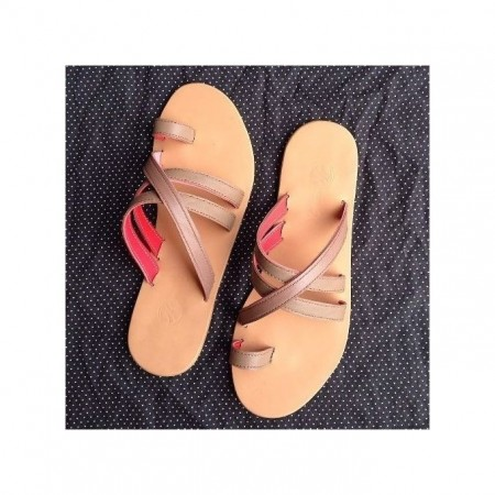 Palm Slippers With X Design - BROWN