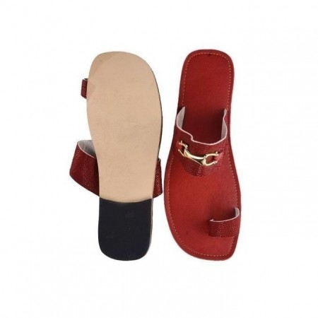 Men's Chain Patterned Flat Slippers -Wine