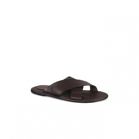 Cross Pattern Slippers - Brown