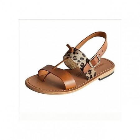 Animal Skin Mix Sandals - Brown