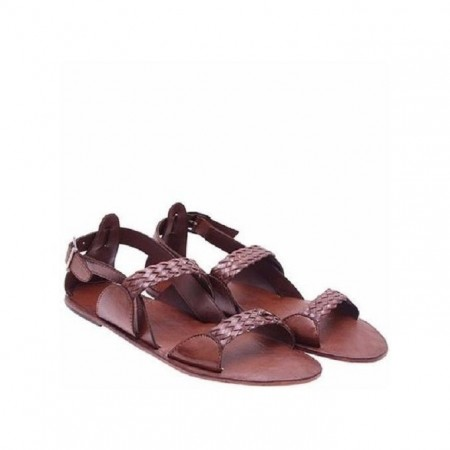 Threaded Gladiator Sandals - Brown