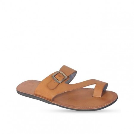 Ladies Buckle Slippers - Brown