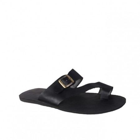 Ladies Buckle Slippers - Black