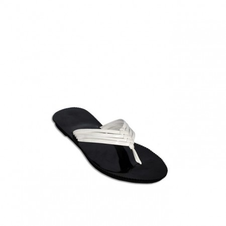 Ladies Threaded Slippers - White/Black