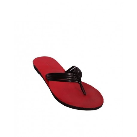 Ladies Threaded Slippers - Black/Red