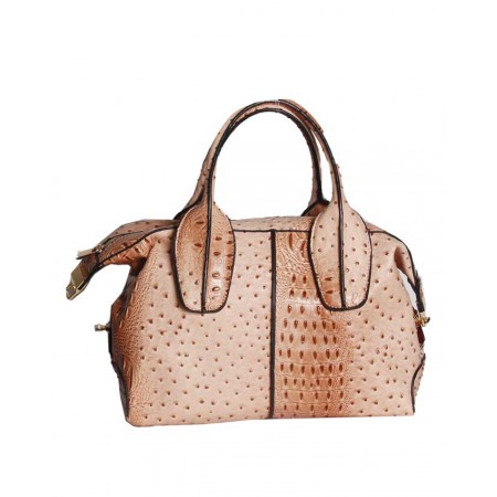 USA - HANDBAG WITH PATTERNED BODY - PEACH & BROWN- HANDBAG REPUBLIC