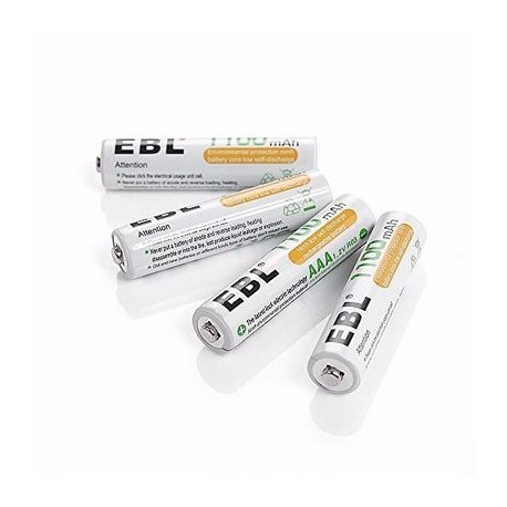 Pack of 4 EBL Rechargeable AAA Batteries- 1100mAh Ni-MH
