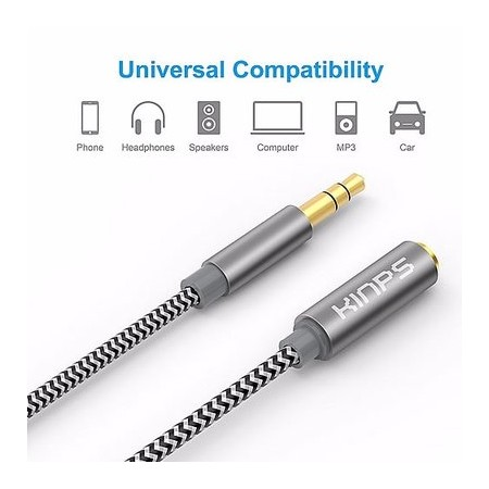 Kinps Audio Auxiliary Stereo Extension Cable 3.5mm Stereo Jack